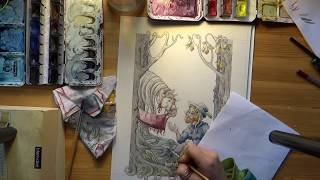 Watercolor Speedpaint/ Fairytale Illustration/ Children's Book/ Medieval Art