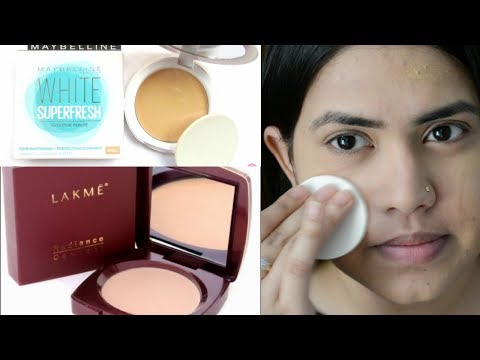 LAKME radiance compact vs MAYBELLINE white superfresh compact review & demo Makeup Comparison हिंदी