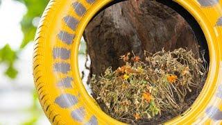 Τα παλιά λάστιχα μεταμορφώνονται για παιχνίδι και διακόσμηση στον κήπο Title