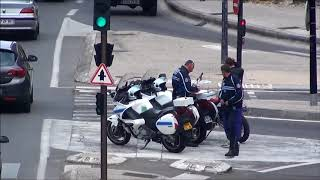 police pull over young motorcyclist in Avignon, France 2012