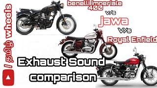 benelli imperiale 400 vs jawa 42 vs royal enfield classic 350 exhaust sound comparison