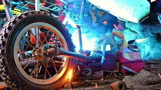 ✅Лютый КреоЦикл из табурета и бензопилы 🚀 Самодельный мопед с коляской