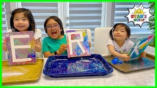 Ryans DIY Easy Paint Art Activities For Kids With Emma And Kate!!