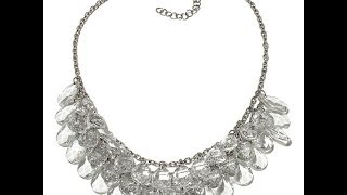 Stainless Steel Crystal Teardrop 18 Bib Necklace