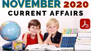 Month Wise Current Affairs- November 2020| India and World | करेंट अफेयर्स नवम्बर | For Competition