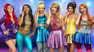 Disney Princess Pop Stars.  Ariel, Jasmine, Aurora, Belle, Elsa And Anna  Totally Tv Parody