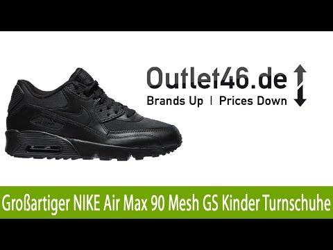 Großartiger NIKE Air Max 90 Mesh GS Kinder Turnschuhe Sneaker Schwarz l Outlet46.de