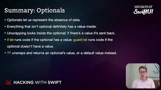 Summary: Optionals – Swift for Complete Beginners