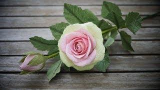 Crepe Paper Rose Flower (tutorial) | Cách Làm Hoa Hồng Ghép Cánh Bằng Giấy Nhún (P2)