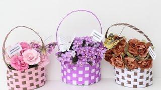 Cestinha de flores para lembrancinha
