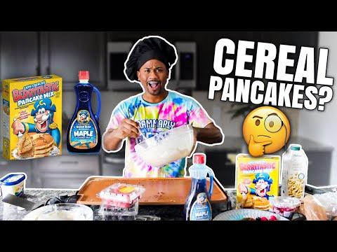 Making Capt Crunch Cereal Pancakes | Taste Test | Alonzo Lerone