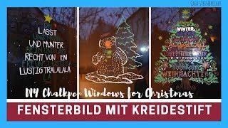 DIY Fensterbild mit Kreidestift und Whiteboardmarkern   Winter und Weihnachtsmotive