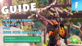 Where to destroy 35 rocks to complete RUIN SKIN Challenge