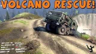 Spin Tires | Multiplayer | Volcano Rescue! With CustomMapCinema