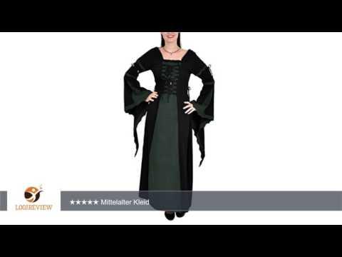 Mittelalter Kleid lang, im Leinen-Look, Baumwolle, schwarz/grün, Größen S - XXL |