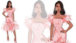 Fashion Illustration: How To Draw Feather Dress (Digital Fashion)