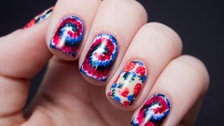 Rodarte Inspired Tie Dye and Floral Nail Art Tutorial