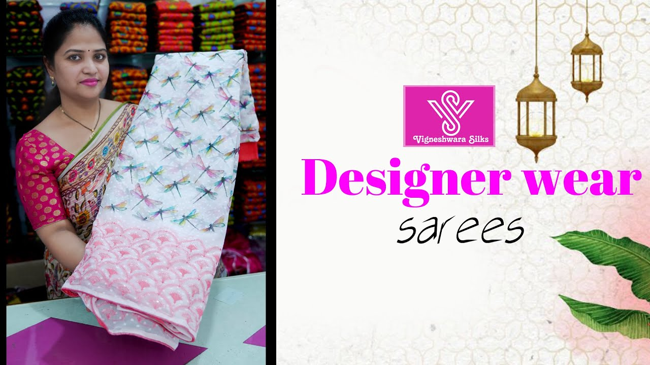 "<p style=""color: red"">Video : </p>Designer wear sarees  || Vigneshwara Silks || //vigneshwarasilks.com 2021-10-13"
