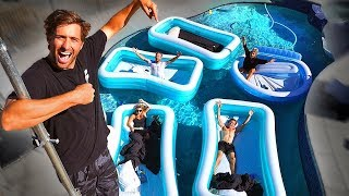 Best Friends spend 24HRS in INFLATABLE POOLS in BACKYARD POOL! *Summer Experiment*