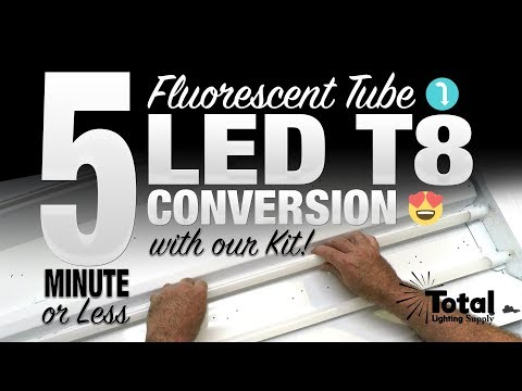 5 minute or less fluorescent tube light to LED T8 conversion with our EZ Kit