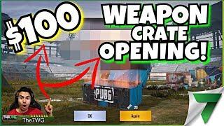 $100 WEAPON CRATE SKIN OPENING! INSANE LUCK & GUN SKIN GIVEAWAY!! | PUBG Mobile