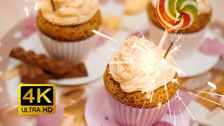 Holiday Cupcakes With Sparklers. Non-Stop Celebration Screensaver (4K UltraHD)