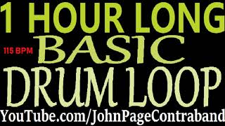 Hour Long Basic Drum Loop 115 bpm Beat DRUMS ONLY Track