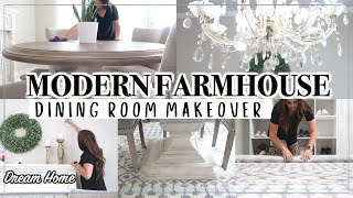 SMALL DINING ROOM MAKEOVER ON A BUDGET | MODERN FARMHOUSE DINING ROOM | DECORATING IDEAS