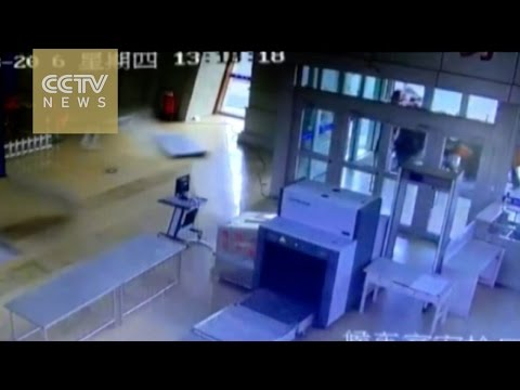 Earthquake video: Ceiling collapses at Xinjiang train station