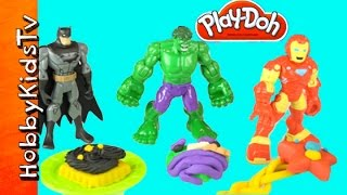 Superhero Play-Doh Cakes! Hulk, Batman + Ironman W/HobbyDad By HobbyKidsTV