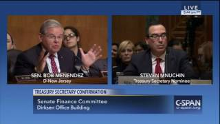 Menendez Grills Mnuchin on Helping his Clients Avoid Taxes