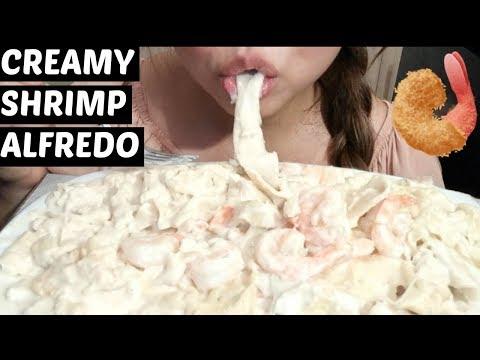 *No Talking* ASMR Fresh Pasta Creamy Garlic Shrimp Alfredo Mukbang 먹방 Eating Sounds