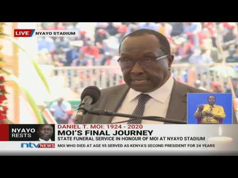 Raymond Moi reads Moi's life journey from birth to death || #MoiMemorialService