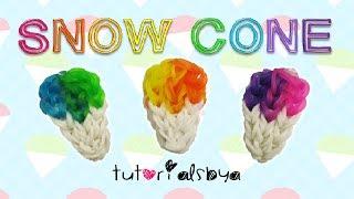 NEW EASY Snow Cone Charm Rainbow Loom Tutorial