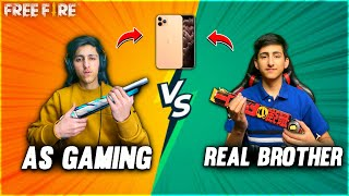 As Gaming Vs Real Brother | I Phone Challenge Free Fire😍| My Brother Face Reveal - Garena Free Fire