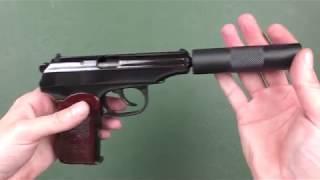 Пневматический пистолет МР 654 К с имитатором глушителя (глубокая полировка) от компании CO2 - магазин оружия без разрешения - видео 3