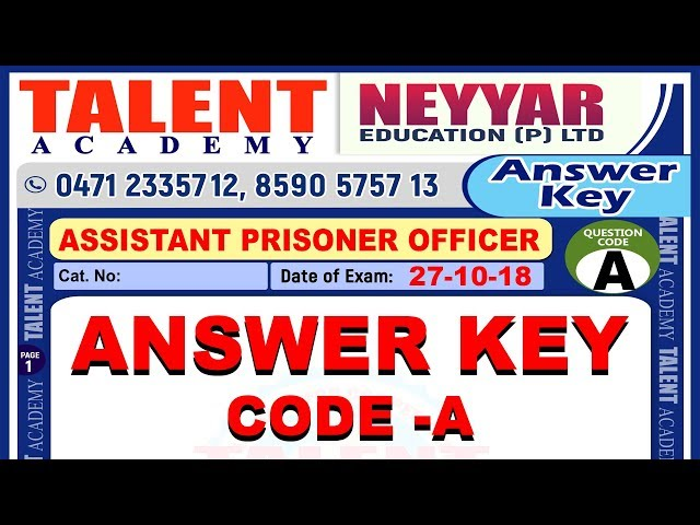 Assistant Prison Officer Exam Answer Key | Kerala PSC | TALENT ACADEMY