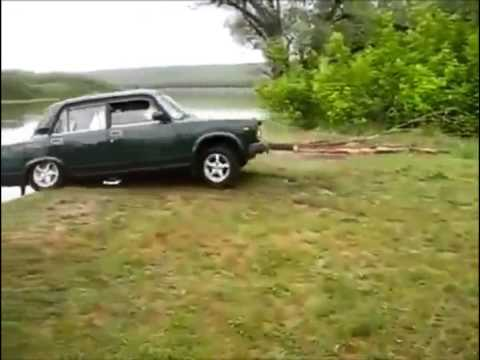 Crazy Guys Accidentally Drive Their Car Off A Cliff