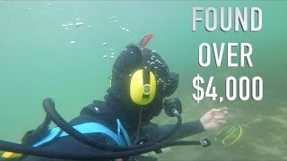 Found $5,000 Buried Treasure (NO POLICE ASSISTANCE) Underwater Metal Detecting GOLD!!