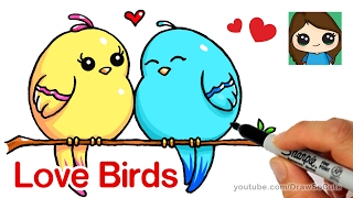 how to draw love birds step by step cute and easy free online