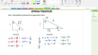 Dec 21 Block A Special Triangle Trig And Assignment Marking