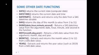 SAS Tutorial 10 Dates and Date Functions