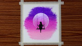 Drawing For Beginners With Oil Pastels - Girl On Swing In Moonlight - Step By Step