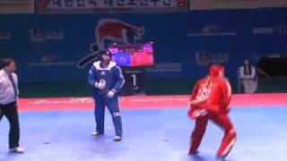 showing the world the dynamics of taekwondo competition. korea vs russia