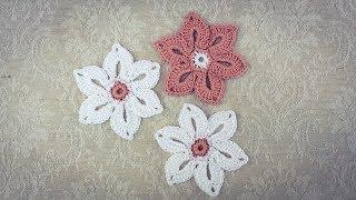 How To Crochet Easy 6 Petal Flower Applique