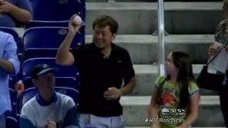 Man Takes Foul Ball From Little Girl | ABC World News Tonight | ABC News
