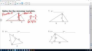 Geometric Mean Worksheet #'s 1-11