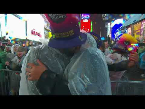 Throngs of soggy revelers greeted 2019 after a rainy night in New York City's Times Square. Fireworks and the drop of a sparkling crystal ball marked the start of the new year in the eastern U.S. (Jan. 1)