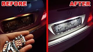 Install LED Backlight on LICENSE PLATE on MERCEDES / License Plate LED Bulbs Upgrade MERCEDES W211