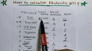 Electric home appliances load and electricity bill calculation deeply